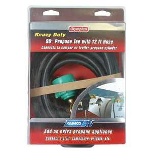 Camco RV 90-Degree Brass Propane Tee with 12' Hose