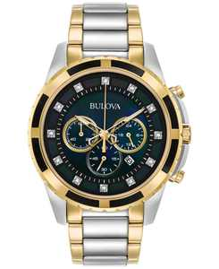 Men's Chronograph Diamond Accent Two-Tone Stainless Steel Bracelet Watch 44mm 98D132