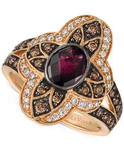 Chocolatier Rhodolite Garnet (1 ct. t.w.) and Diamond (5/8 ct. t.w.) Statement Ring in 14k Rose Gold