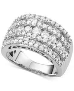 Five-Row Diamond Band (3 ct. t.w.) in 14k White, Yellow or Rose Gold