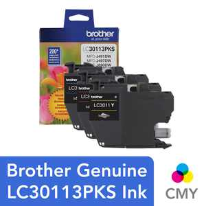 Brother Genuine LC30113PKS 3-Pack Standard-yield Color Ink Cartridges
