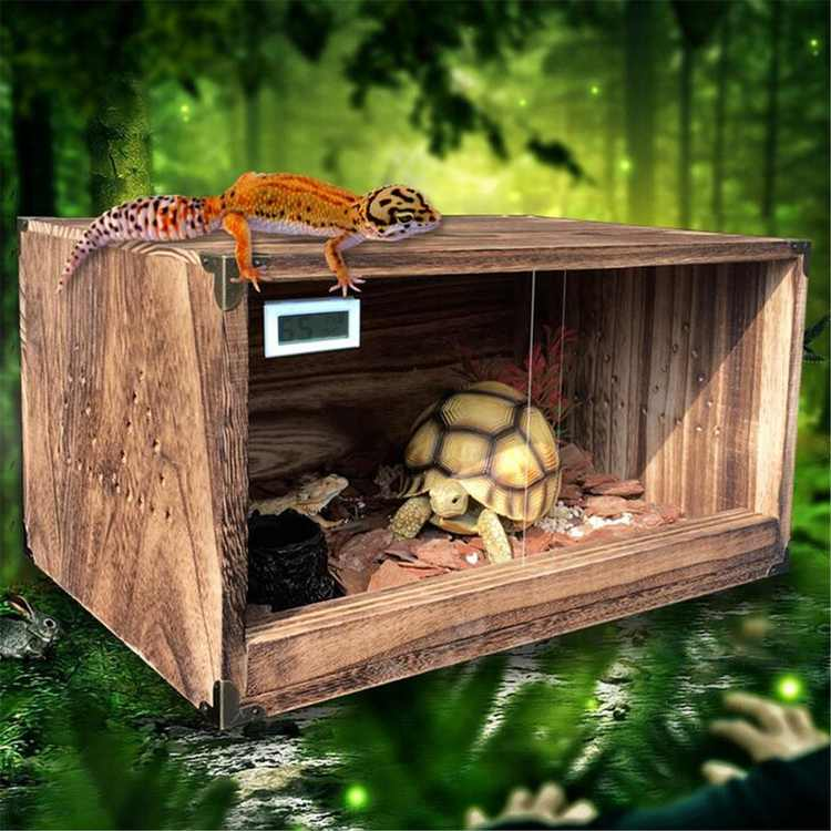 Wood Reptile Tank Breeding Box w/ Thermometer and Breathable Holes for Turtle Spider Lizard Snakes,Two-way Acrylic Sliding Door,15x10 inch(CR Battery Not Included)