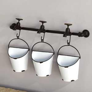 Wall Mounted Enamel Planter Buckets with Spigot Look Mounting Bar