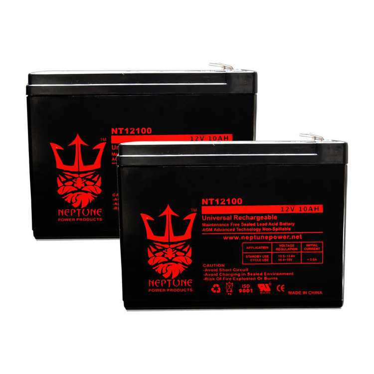 Schwinn IZIP I-1000 3 12V 10Ah SLA Replacement Mobility Scooters Battery by Neptune - 2 Pack