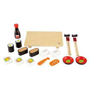 Hape Sushi Selection Kids Wooden Pretend Kitchen Play Food and Accessories Set
