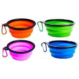 Collapsible Dog Bowl - 4 Pack Collapsable Dog Water Bowls for Cats Dogs - Portable Pet Feeding Watering Dish for Walking Parking Traveling - Include 4 Carabiners