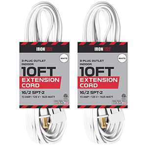 10 Ft White Extension Cord 2 Pack - 16/2 Durable Electrical Cable