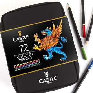 Castle Art Supplies 72 Piece Colored Pencils Zip-Up Case Set | Sketching, Coloring, Drawing Set for Adults and Kids