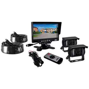 """Weatherproof Rearview Backup Camera & Monitor Video System, Commercial Grade, 2 Cameras, 7"""" Monitor, Dual DC 12-24V for Bus, Truck, Trailer, Van"""