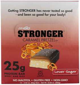 NuGo Stronger Protein Bar, Caramel Pretzel, 25g Protein, 12 Ct