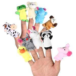 Clearance : LEORX 10pcs Cartoon Animal Finger Puppets Soft Velvet Dolls Props Toys (Random Pattern)