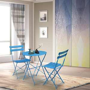 Zimtown 3PCS Simple Style Folding Bistro Set Iron Blue