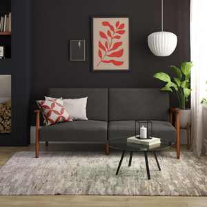 Better Homes & Gardens Mid Century Futon, Convertible Sofa, Gray Linen
