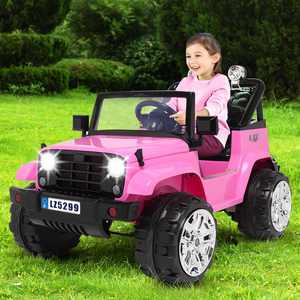 Zimtown Safety 12V Battery Electric Remote Control Car, Kids Toddler Ride On Cars Motorized Vehicles Toy Car, Wheels Suspension, Seat Belts, LED Lights and Realistic Horns Pink