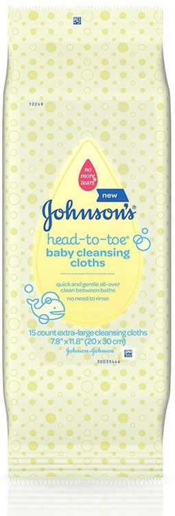 Johnsons Head-To-Toe Baby Cleansing Cloths 15 ea (Pack of 3)