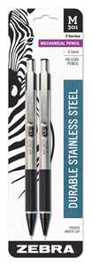 Zebra Pen M-301 Stainless Steel Mechanical Pencil, 0.5mm Point Size, Standard HB Lead, Black Grip, 2-Count