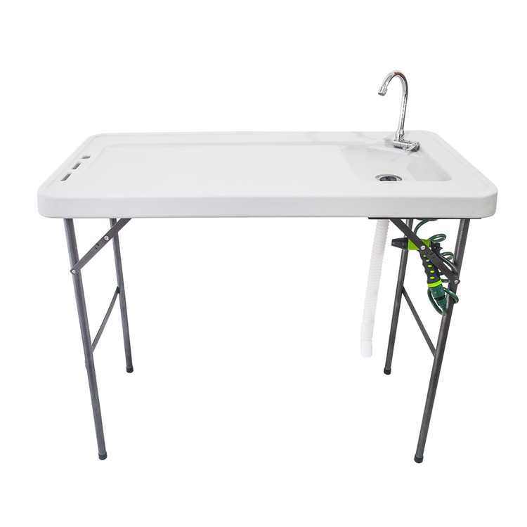 Zimtown Folding Fish Fillet Cleaning Table, with Faucet Sprayer Sink and Drain Hose, for Hunting Cutting, Camping, Outdoor Sports