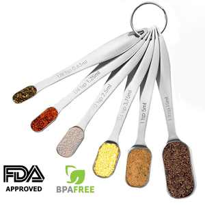 Heavy Duty Stainless Steel Metal Measuring Spoons for Dry or Liquid, Fits in Spice Jar, Set of 6, I2481