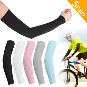 5 Pair UV Sun Protection Cooling Arm Sleeves, EEEkit Long Sun Protective Sleeves for Men Women, 5 Colors(Black/White/Gray/Blue/Pink)