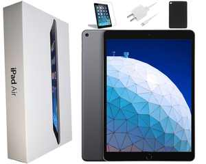 Apple iPad Air 16GB, Space Gray, Wi-Fi Only, and Comes With Bundle: Case, Tempered Glass, Generic Charger - Refurbished