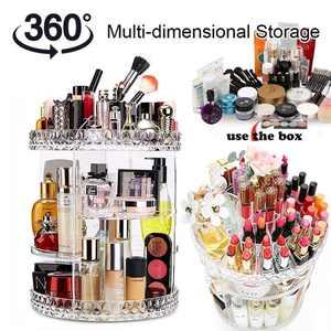 6 ADJUSTABLE LAYERS Makeup Organizer 360-Degree Rotating Comestic storage box Acrylic Materia with durable trays washable makeup organizer makeup Case Display Holder Drawer Box