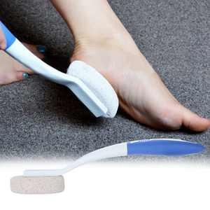 FAGINEY Long Handle Remove Dead Skin Cutin Foot Brush with Scrubbing Pumice Stone Foot Massage Cleaner, Exfoliating Foot Cleaner, Foot Cleaner