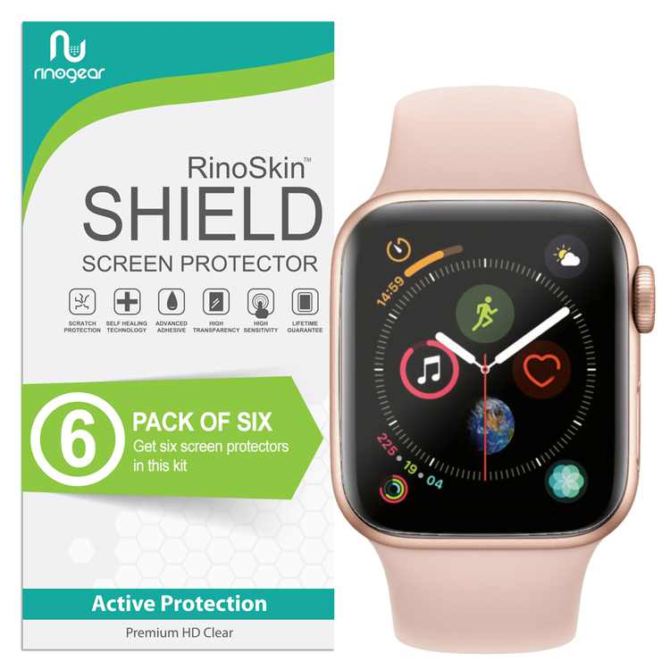 (6-Pack) Apple Watch Screen Protector 40mm (Series 6 5 4 SE) RinoGear Flexible HD Crystal Clear Anti-Bubble Unlimited Replacement Film