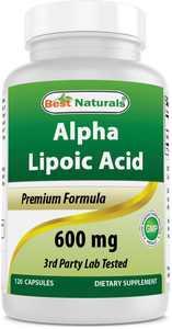 Best Naturals Alpha Lipoic Acid Blood Sugar Management, Dietary Supplements, 600 mg, 120 Capsules