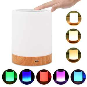 Night Light Touch Sensor Lamp Bedside Table Lamp for Kids Bedroom Rechargeable Dimmable Warm White Light + RGB Color Changing