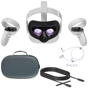 2020 Oculus Quest 2 All-In-One VR Headset, Touch Controllers, 64GB SSD, 1832x1920 up to 90 Hz Refresh Rate LCD, Glasses Compitble, 3D Audio, Mytrix Carrying Case, Earphone, Oculus Link Cable (3M)