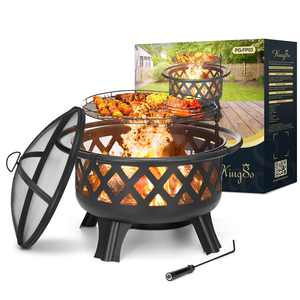 KingSo 2-in-1 Outdoor Wood Burning Fire Pit, 30 inch Metal Steel Heavy Duty Fire Pits with Cooking Grate