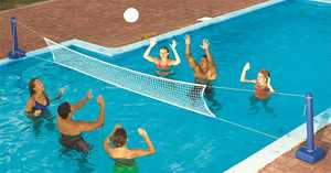 Swimline 9186 Cross Inground Swimming Pool Fun Volleyball Net Game Water Set