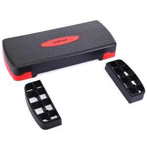 "Sandinrayli 27"" Fitness Aerobic Step Adjust 4"" - 6"" Exercise Stepper W/ Riser, Black & Red"