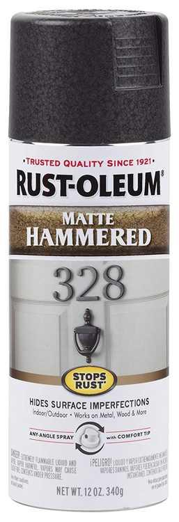 Rust-Oleum  Hammered  Matte  Black  Spray Paint  12 oz. - Case Of: 1;