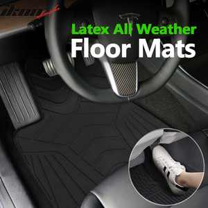 Compatible with 17-21 Tesla Model 3 Latex All Weather Floor Mat Carpet OE Factory Style Front Rear Black