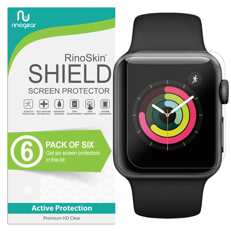 (6-Pack) Apple Watch Screen Protector 38mm (Series 1, 2, 3) Sport RinoGear Flexible HD Crystal Clear Anti-Bubble Unlimited Replacement Film