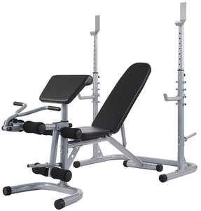 Everyday Essentials Multifunctional Workout Station Adjustable Olympic Workout Bench with Squat Rack, Leg Extension, Preacher Curl, and Weight Storage, 800-Pound Capacity