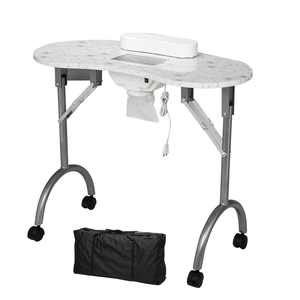 Ktaxon Portable Nail Manicure Table Desk W/ Cushion Carry Bag White Foldable