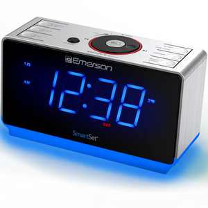 Emerson SmartSet Alarm Clock Radio with USB Charger, Nightlight, Bluetooth Speaker and Jumbo Display.