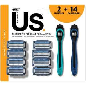 Us 5-Blade Razor Kit for Men and Women, 2 Handles & 14 Razor Replacement Cartridge