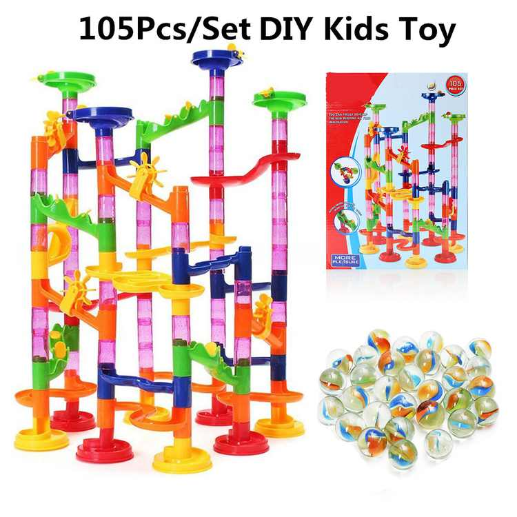 105-Piece Kids Play Toy Set for Marble Race Track Game, Kids Transparent Plastic Round Beads Running Coaster Track for STEM, Learning, Education