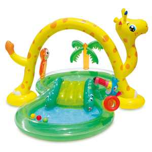 Summer Waves 8.5ft x 6.3ft x 50in Inflatable Kiddie Pool Play Center w/ Slide