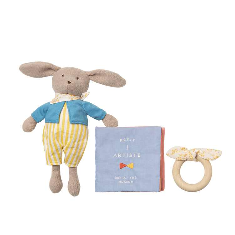 Manhattan Toy Petit Artiste Bunny Doll, Soft Book, and Wooden Teether Baby Soothing Gift Set