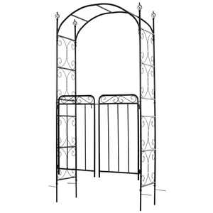 """Outsunny Metal Garden Arbor with Gate Outdoor Trellis with Latched Doors for Climbing Plant, 43""""L x 18""""W x 85""""H"""