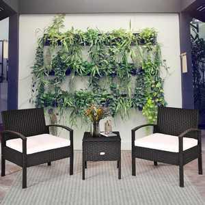 Costway 3PC Outdoor Patio Rattan Furniture Set Storage Coffee Table Cushioned Sofa Black
