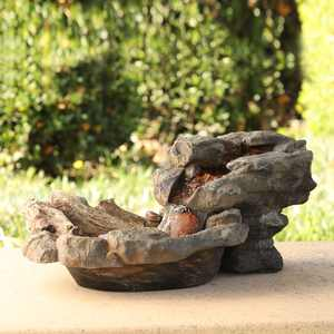 Alpine Corporation Rock Water Outdoor Fountain with LED Lights