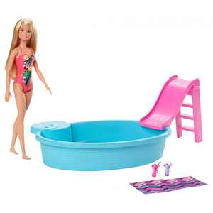 Barbie Estate with Blonde Doll, Pool, Slide & Accessories Doll Playset