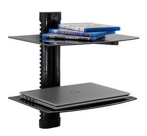 Mount-It! Floating Wall Mounted Shelf Bracket Stand 2 Shelves Tinted Tempered Glass