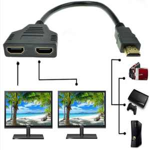 1080P HDMI Switch Male to Dual HDMI Female 1 to 2 Way Splitter Cable Adapter Converter for DVD Players/PS3/HDTV/STB and Most LCD Projectors(Black)