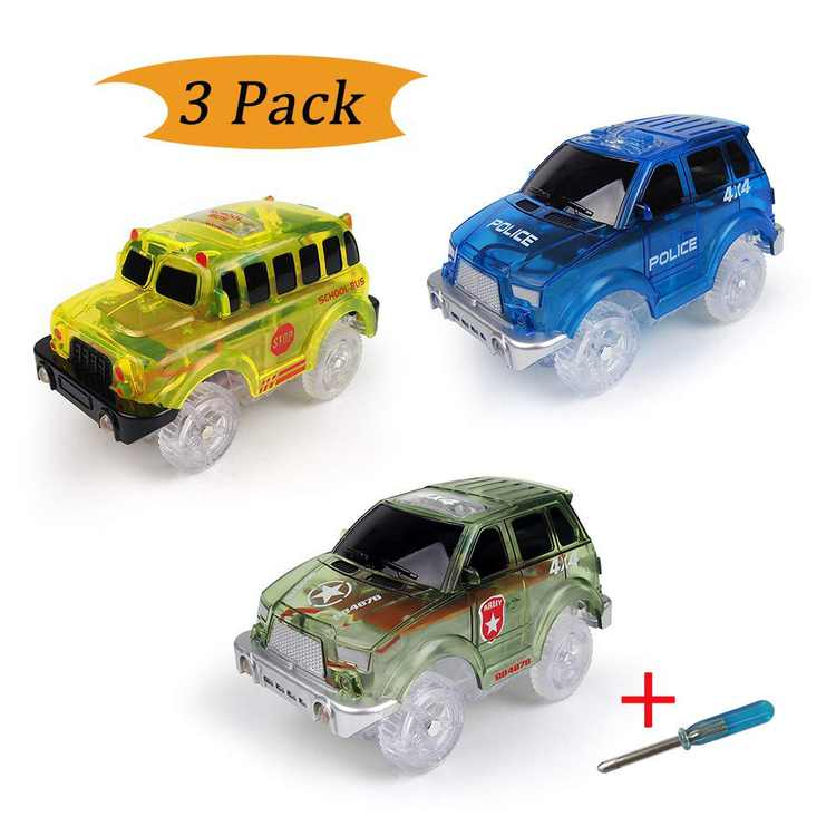 Electric Tracks Cars 3 pack, LED Flashing Car Toys Looping Race Run Set, Flexible Glow in the Dark with 5 LED Lights, Compatible with Magic Track, for Boys and Girls